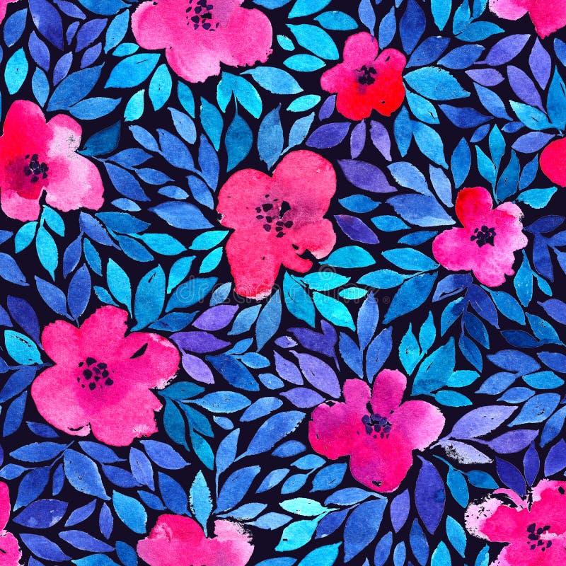 Modelo inconsútil con las flores y las hojas del verano Pintura de la acuarela Fondo del color de agua libre illustration