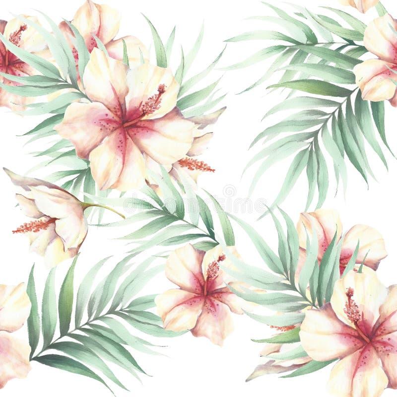 Modelo inconsútil con las flores y las hojas tropicales Ilustración de la acuarela stock de ilustración