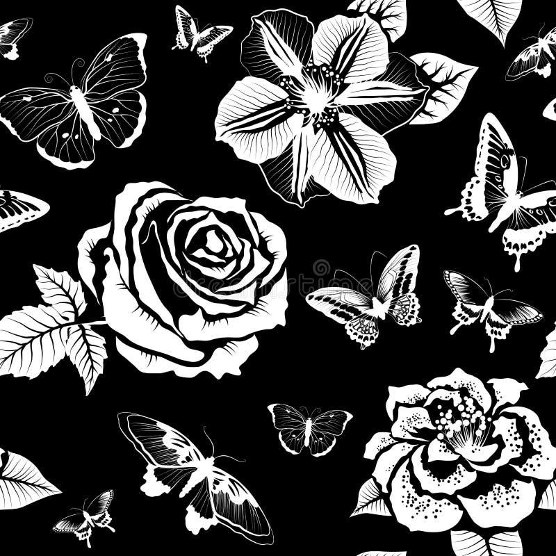 Modelo inconsútil con las flores y las mariposas (blancos y negros) ilustración del vector