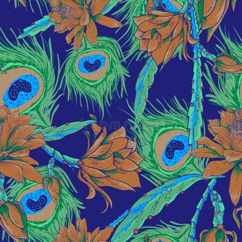 Modelo inconsútil con las flores y las plumas ilustración del vector