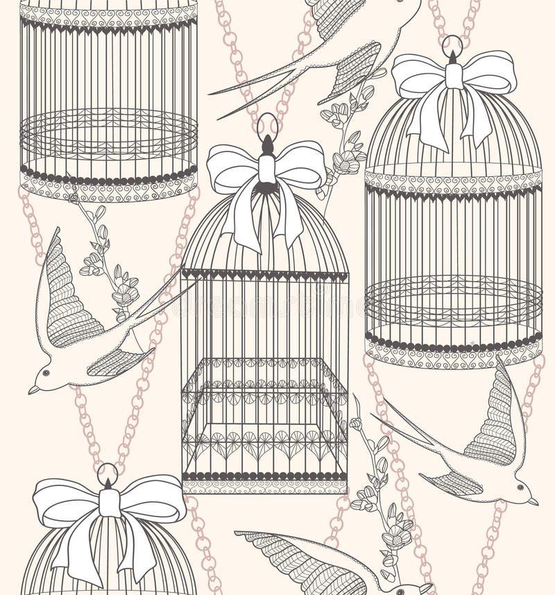 Modelo inconsútil con las flores y los pájaros de los birdcages stock de ilustración
