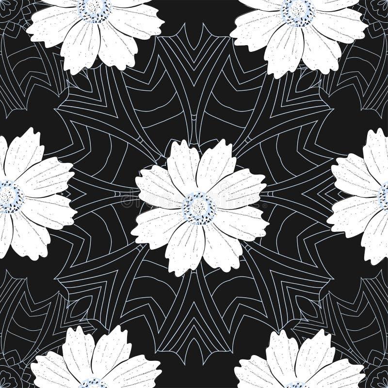 Modelo inconsútil con las flores y las mandalas, fondo hermoso ilustración del vector