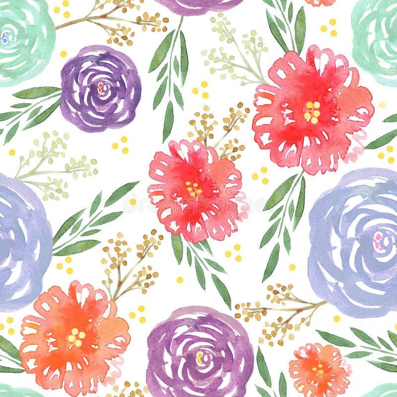 Modelo inconsútil con las flores y las ramas coloridas de la acuarela stock de ilustración
