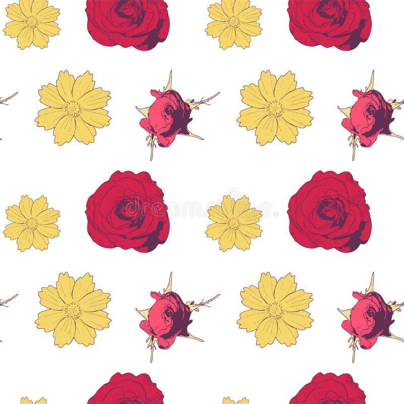Modelo inconsútil con las flores y las rosas amarillas en el fondo blanco ilustración del vector