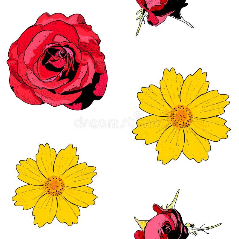 Modelo inconsútil con las flores y las rosas amarillas en el fondo blanco libre illustration