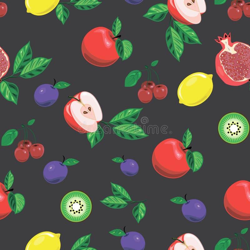 Modelo inconsútil con las frutas brillantes libre illustration