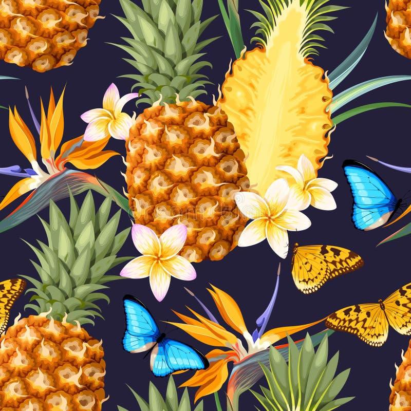 Modelo inconsútil con las frutas de la piña ilustración del vector