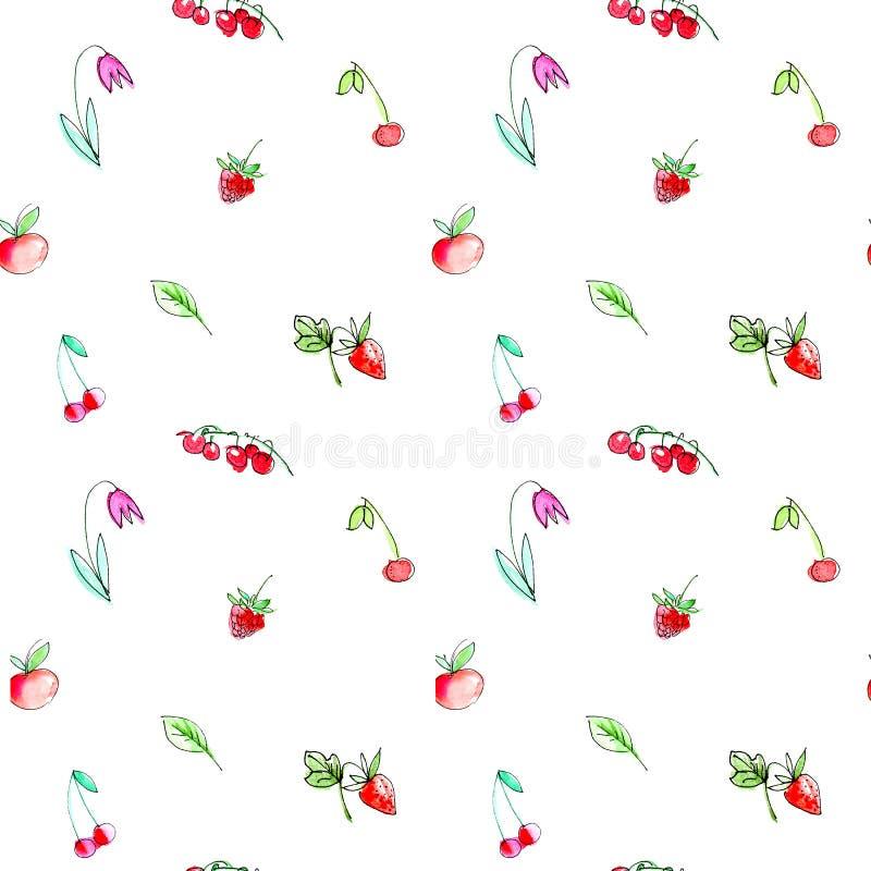 Modelo inconsútil con las frutas y las bayas del jardín Cereza, frambuesa, pasa, fresa, manzana y flor libre illustration