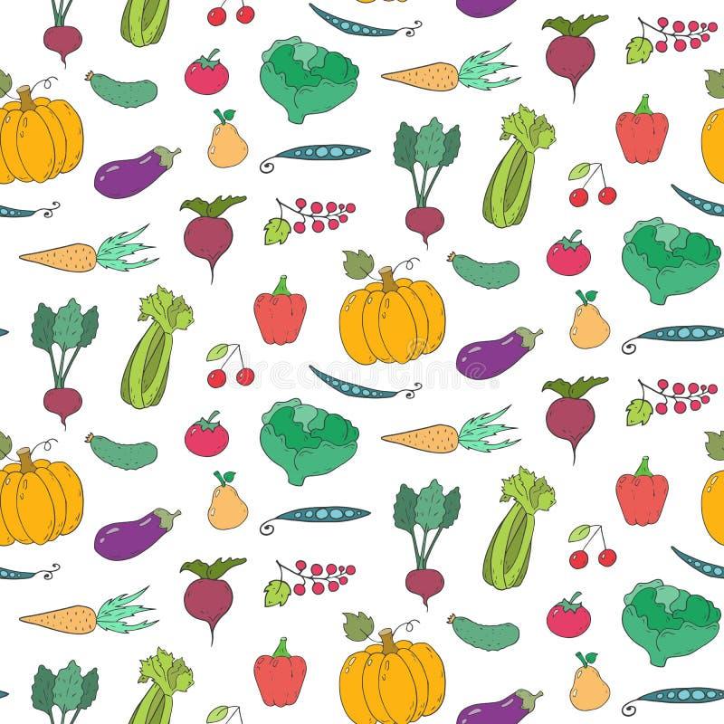 Modelo inconsútil con las frutas y verduras de la historieta stock de ilustración