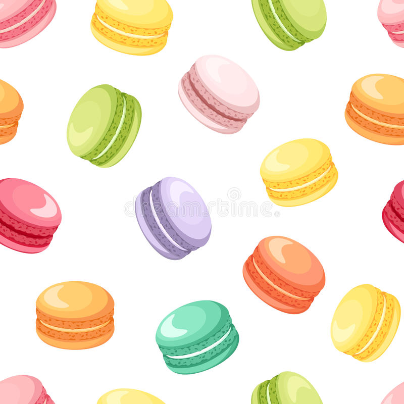Modelo inconsútil con las galletas coloridas de los macarrones en blanco Ilustración del vector libre illustration