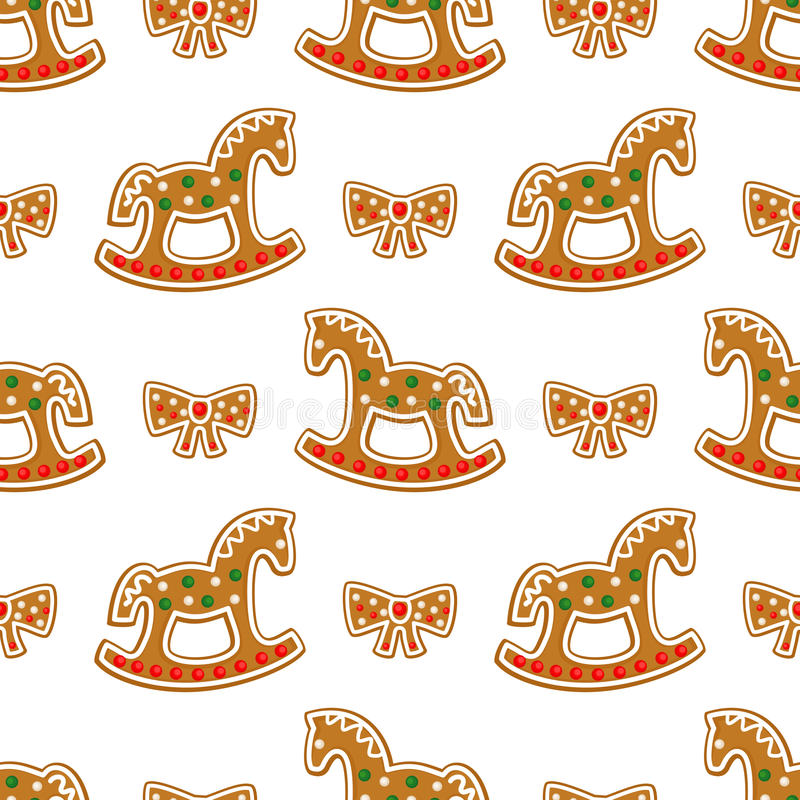 Modelo inconsútil con las galletas del pan de jengibre de la Navidad - caballo mecedora y arco libre illustration