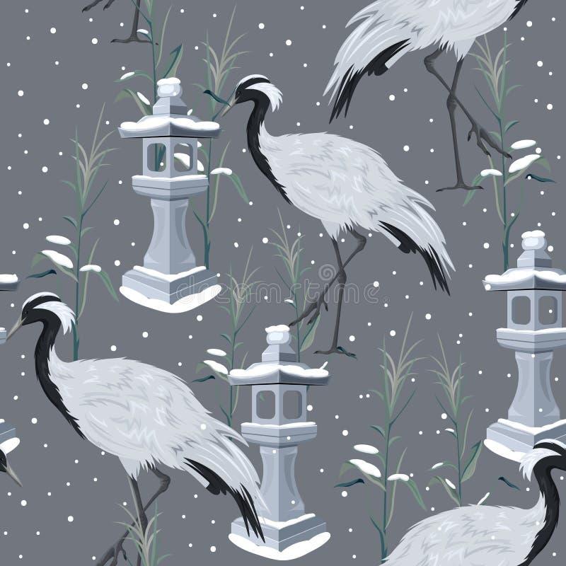 Modelo inconsútil con las grúas y la nieve stock de ilustración
