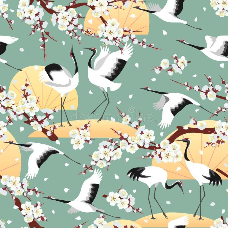 Modelo inconsútil con las grúas y los flores japoneses libre illustration