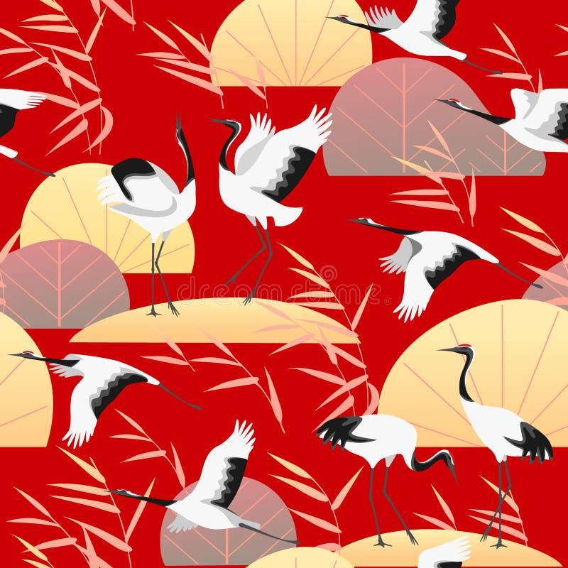 Modelo inconsútil con las grúas y Reed japoneses ilustración del vector