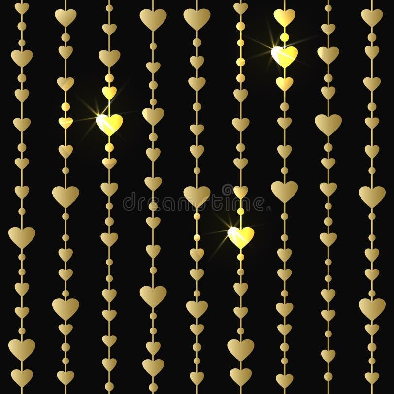 Modelo inconsútil con las guirnaldas de los corazones del oro de la ejecución libre illustration