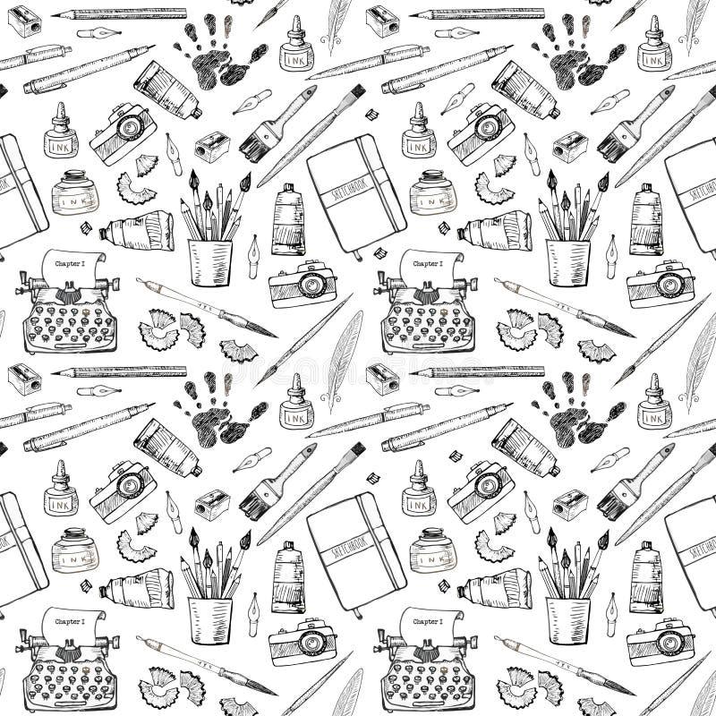 Modelo inconsútil con las herramientas del artista y del escritor ilustración del vector