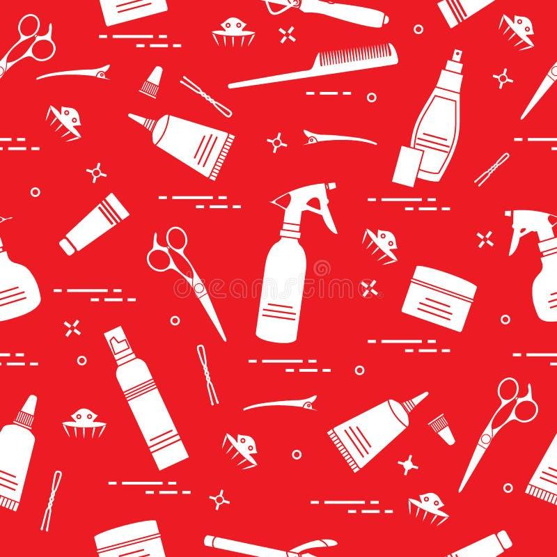 Modelo inconsútil con las herramientas profesionales del peluquero Forme libre illustration