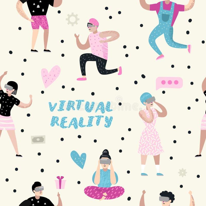 Modelo inconsútil con las historietas que llevan los vidrios de la realidad virtual Auriculares de VR Caracteres de las muchachas stock de ilustración