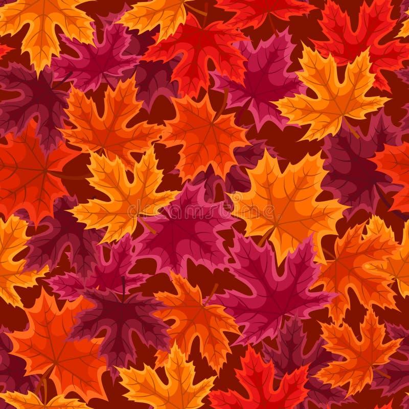 Modelo inconsútil con las hojas de arce del otoño. stock de ilustración