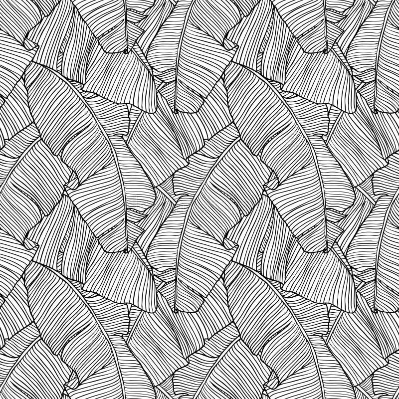 Modelo inconsútil con las hojas de la palmera stock de ilustración
