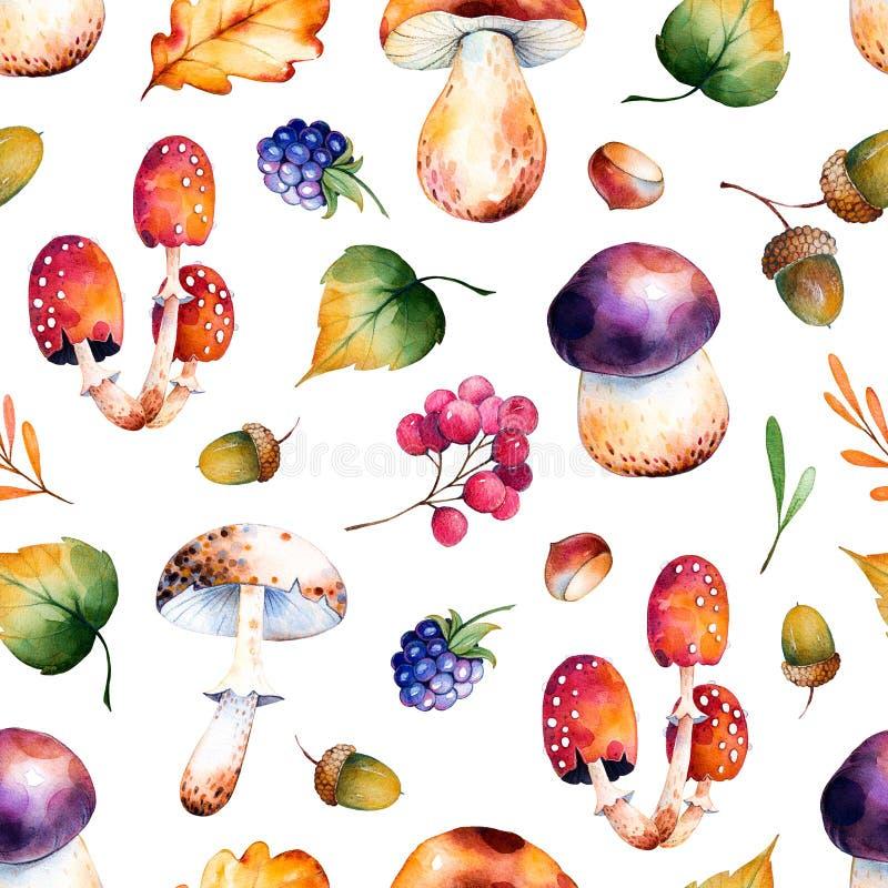 Modelo inconsútil con las hojas de otoño, flores, ramas, bayas, bellotas ilustración del vector