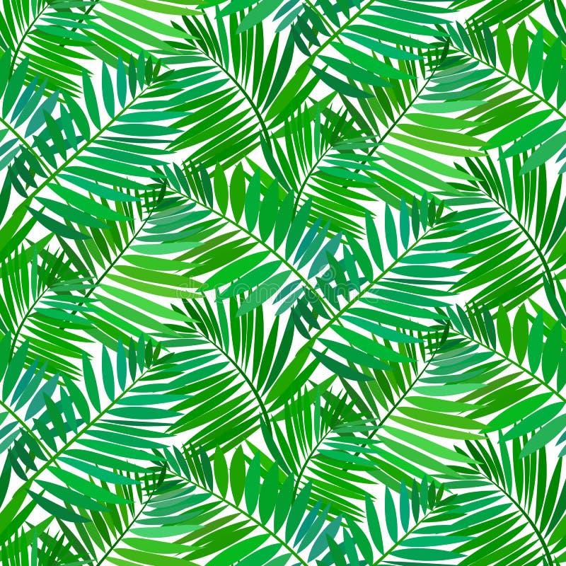 Modelo inconsútil con las hojas de palma tropicales stock de ilustración