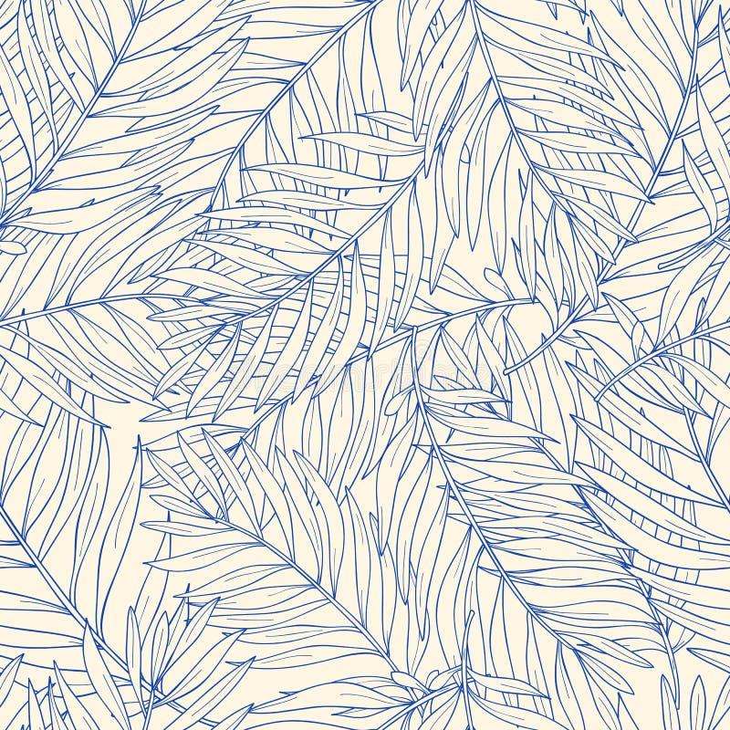 Modelo inconsútil con las hojas de palma tropicales del contorno Fondo de la naturaleza ilustración del vector