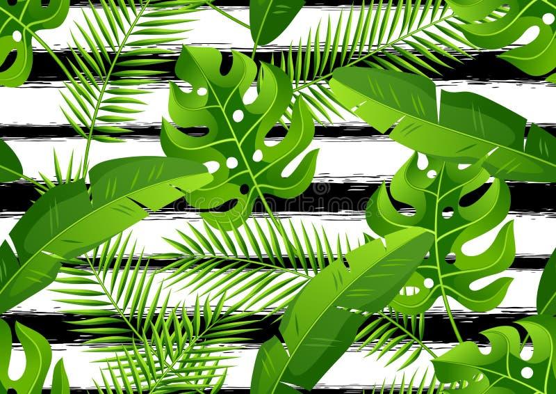 Modelo inconsútil con las hojas de palma tropicales Plantas tropicales exóticas Ejemplo de la naturaleza de la selva ilustración del vector