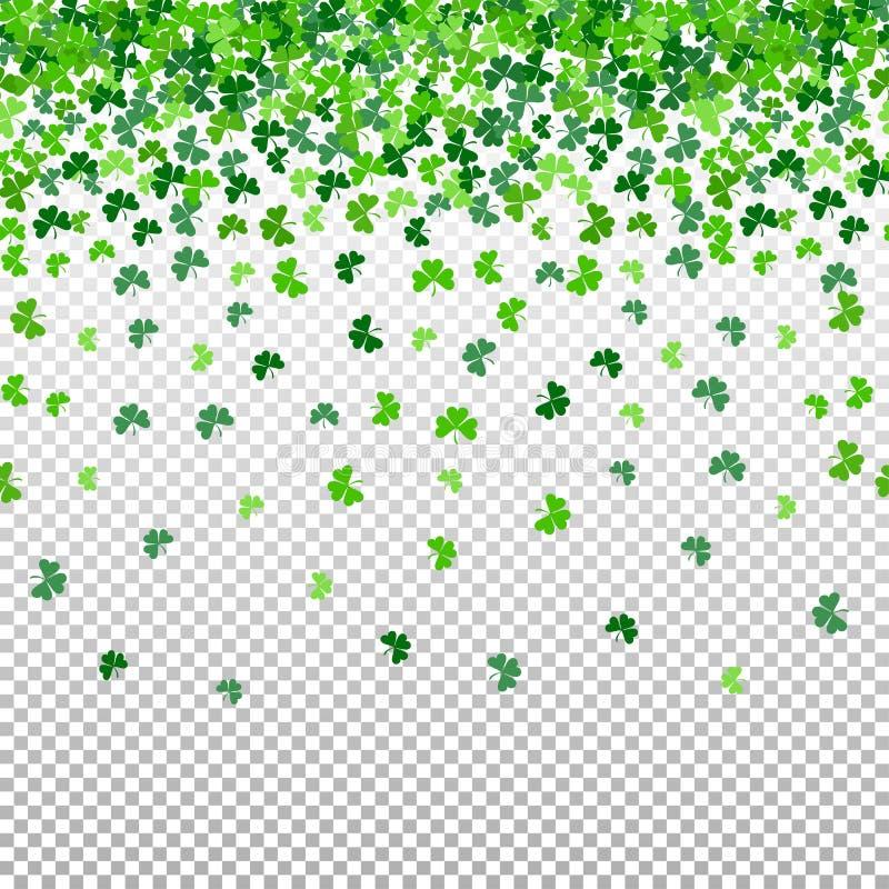 Modelo inconsútil con las hojas que caen del trébol del trébol en fondo transparente imagen de archivo