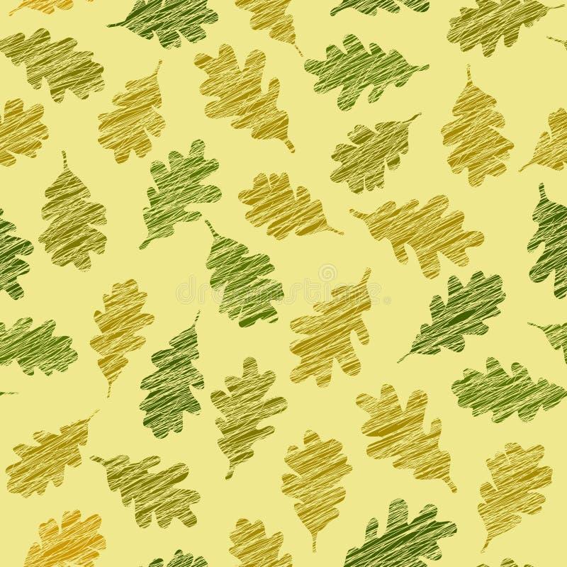 Modelo inconsútil con las hojas rasguñadas del roble Textura del otoño stock de ilustración