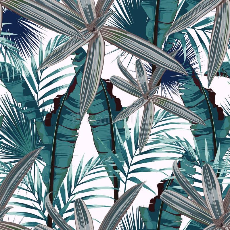 Modelo inconsútil con las hojas tropicales Hojas de palma oscuras y brillantes en el fondo ligero libre illustration