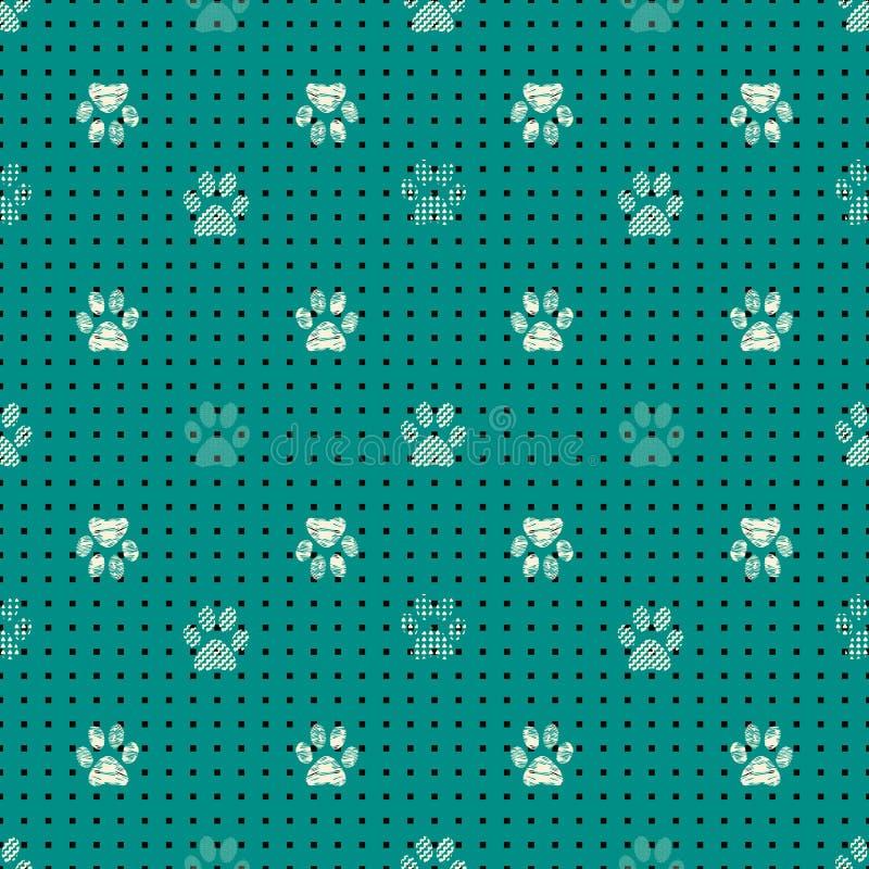 Modelo inconsútil con las impresiones animales de la pata Impresión compleja del ejemplo en negro, poner crema y verde libre illustration