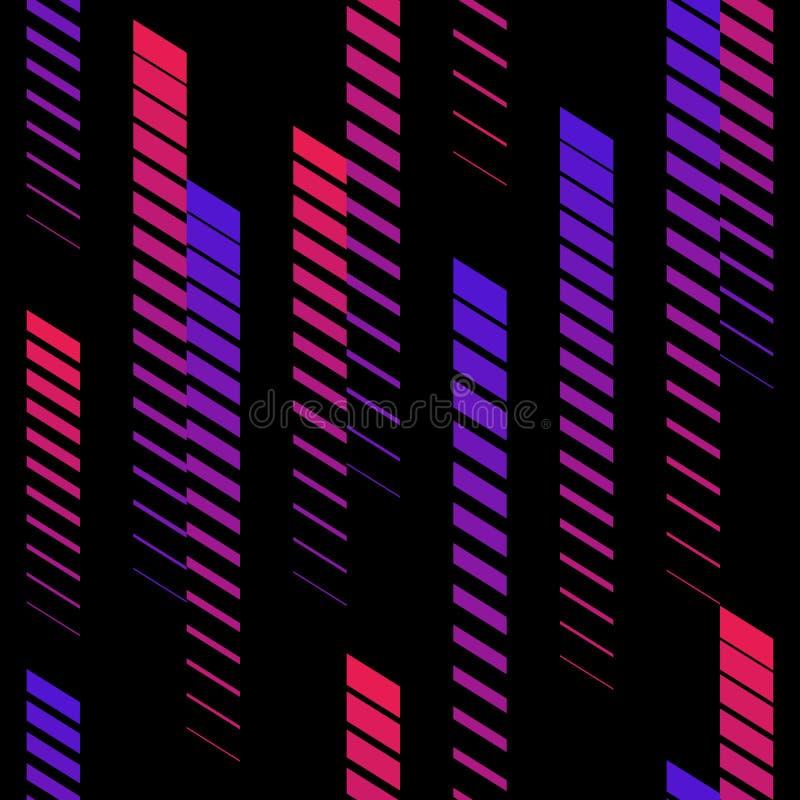 Modelo inconsútil con las líneas de descoloramiento, rayas de semitono Colores rosados y púrpuras de neón Estilo juguetón extremo stock de ilustración