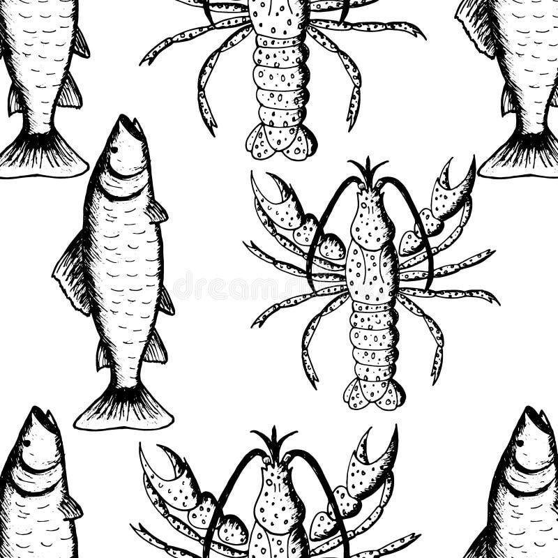 Modelo inconsútil con las langostas y los pescados en el fondo blanco ilustración del vector