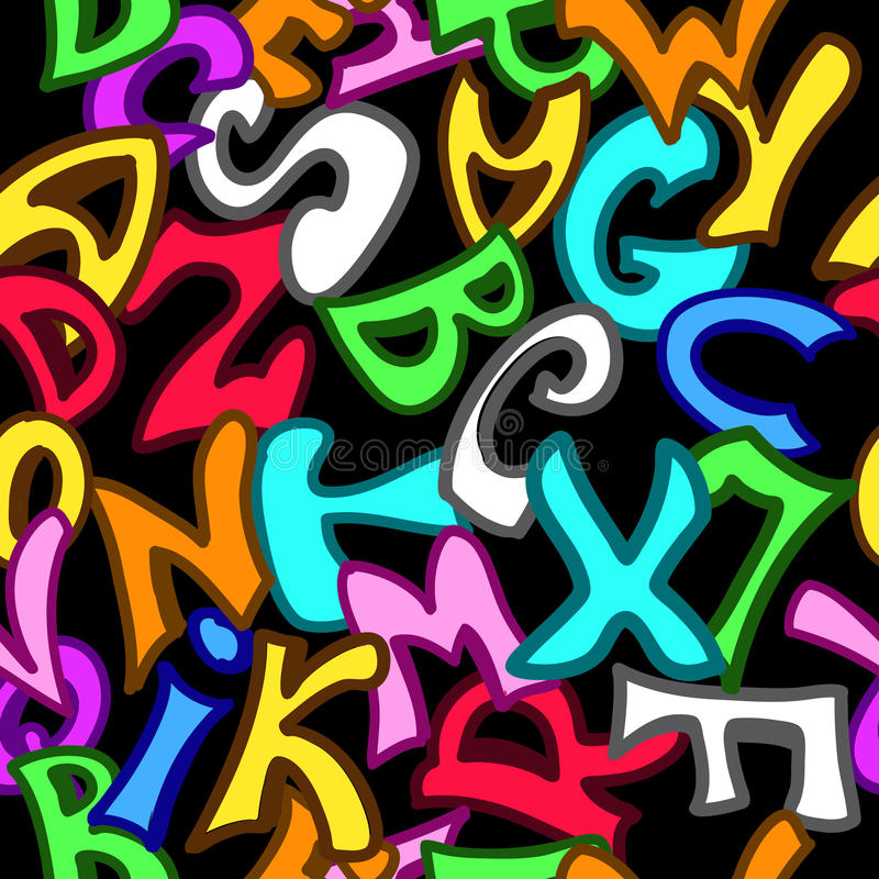 Modelo inconsútil con las letras en estilo de la pintada stock de ilustración