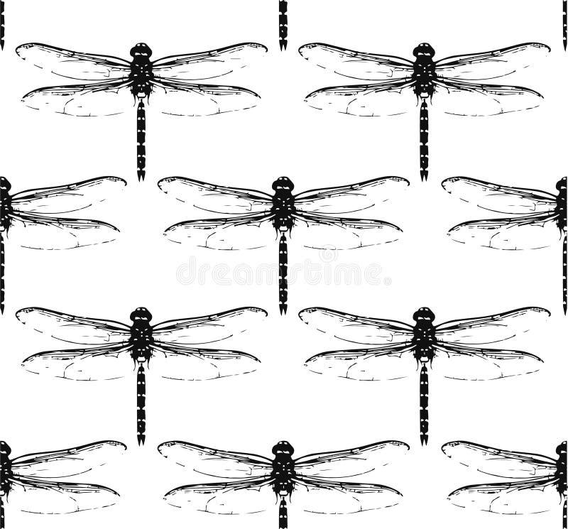 Modelo inconsútil con las libélulas imagen de archivo libre de regalías