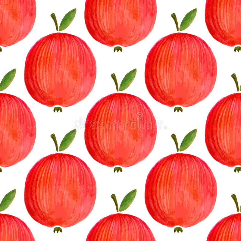 Modelo inconsútil con las manzanas de la acuarela manzana de la acuarela del ejemplo para su diseño ilustración del vector