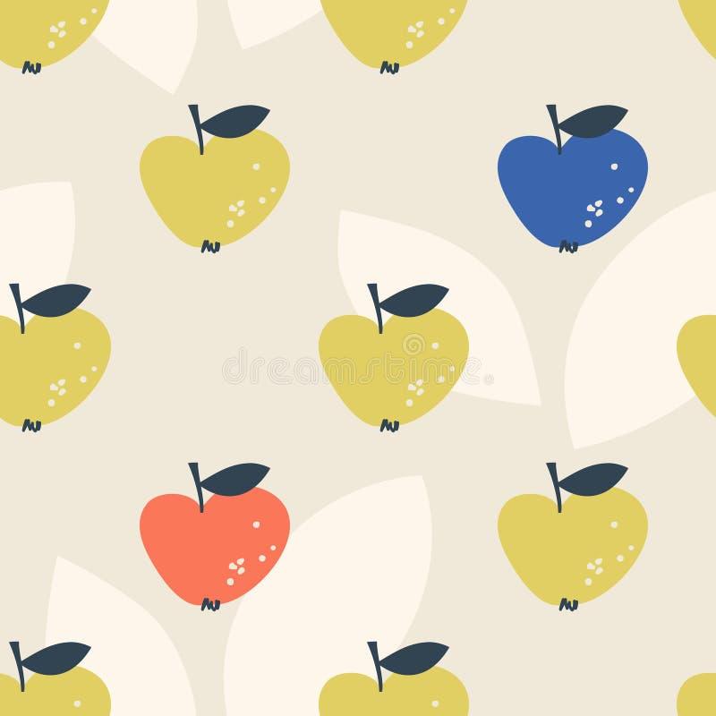 Modelo inconsútil con las manzanas estilizadas en estilo escandinavo imagen de archivo libre de regalías