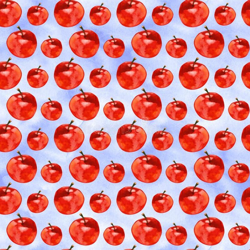 Modelo inconsútil con las manzanas rojas, ejemplo de la acuarela del drenaje de la mano ilustración del vector
