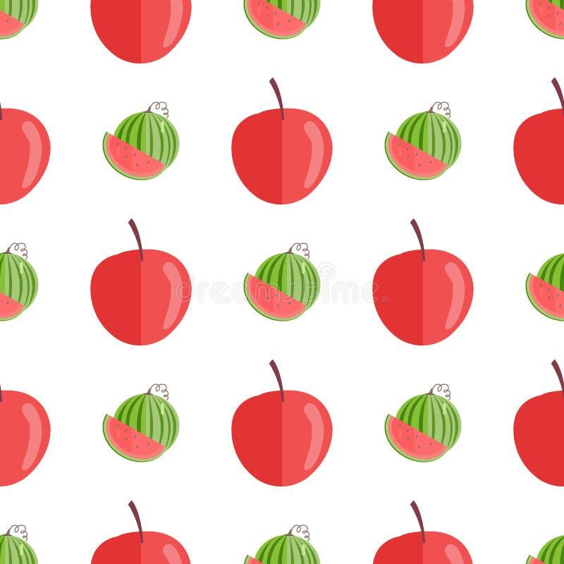 Modelo inconsútil con las manzanas y las sandías rojas libre illustration