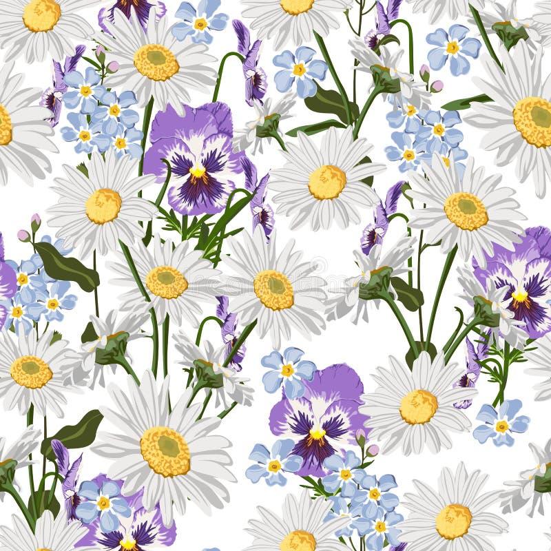 Modelo inconsútil con las manzanillas, la nomeolvides y las flores de la viola libre illustration