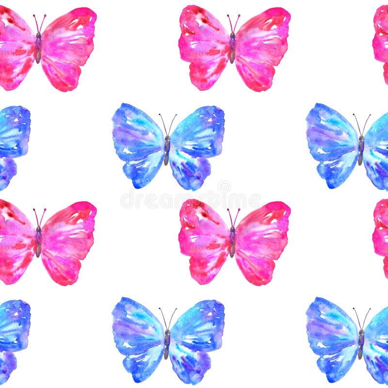 Modelo inconsútil con las mariposas azules y rosadas coloridas Ejemplo dibujado mano de la acuarela r ilustración del vector