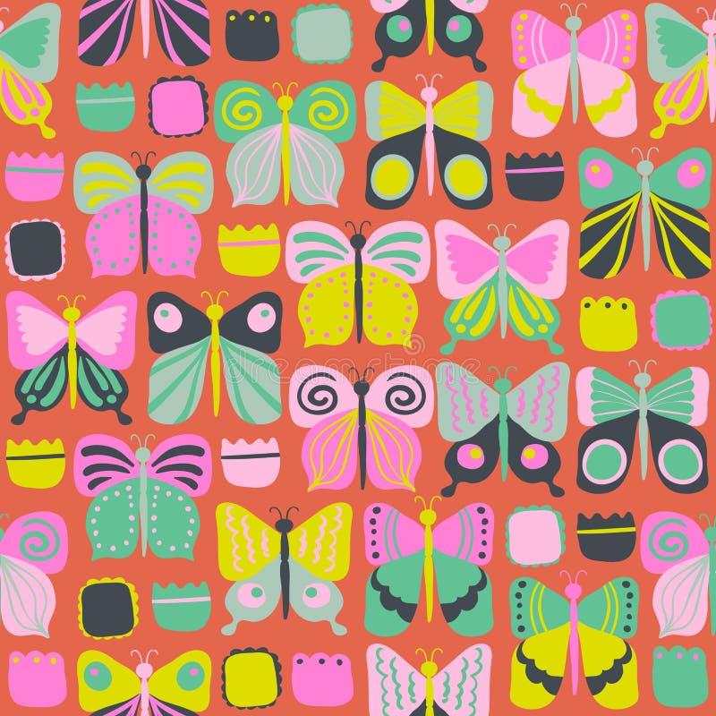 Modelo inconsútil con las mariposas brillantes hermosas libre illustration