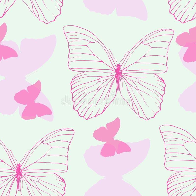 Modelo inconsútil con las mariposas coloridas hermosas de la mano en fondo verde ilustración del vector