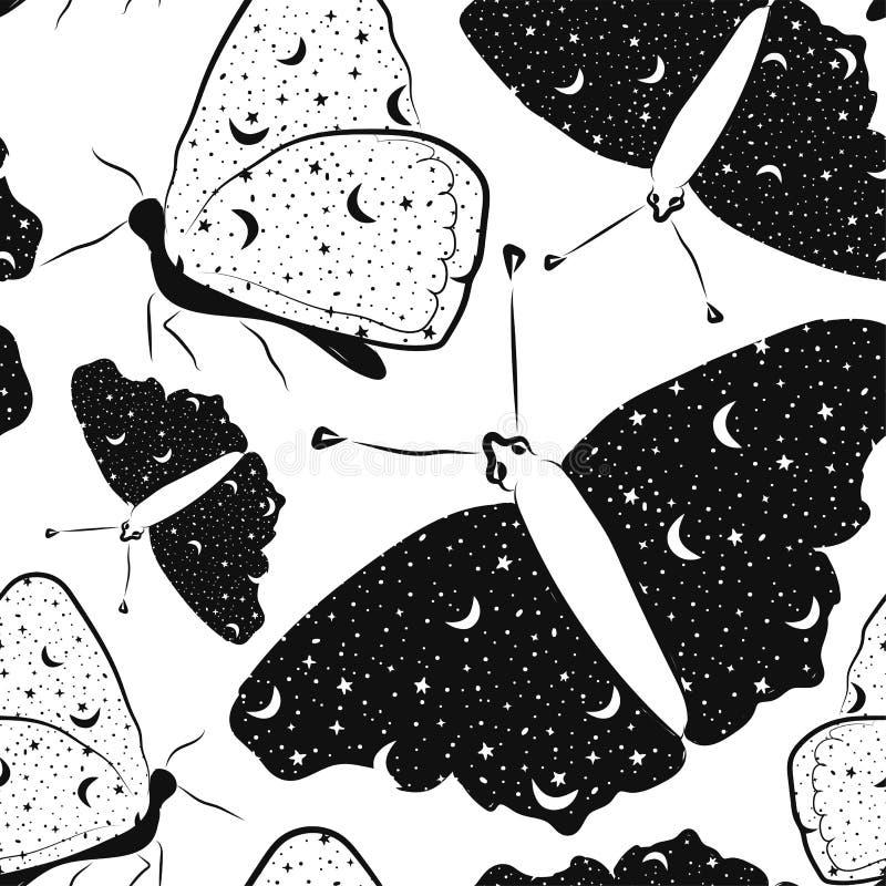 Modelo inconsútil con las mariposas hermosas con el cielo estrellado dentro en colores blancos y negros libre illustration
