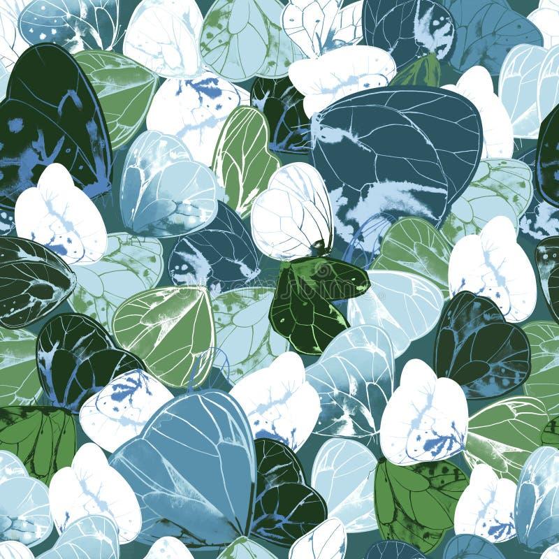 Modelo inconsútil con las mariposas verdes, azules y blancas hermosas Contexto elegante con los insectos de vuelo cons alas magní ilustración del vector
