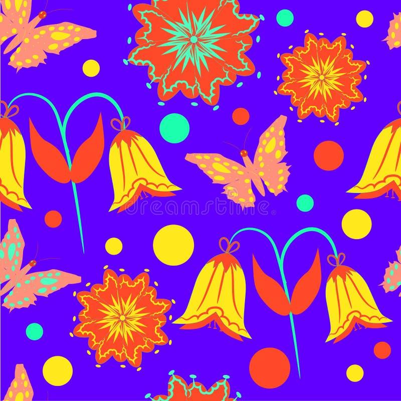 Modelo inconsútil con las mariposas y las flores en lila ilustración del vector