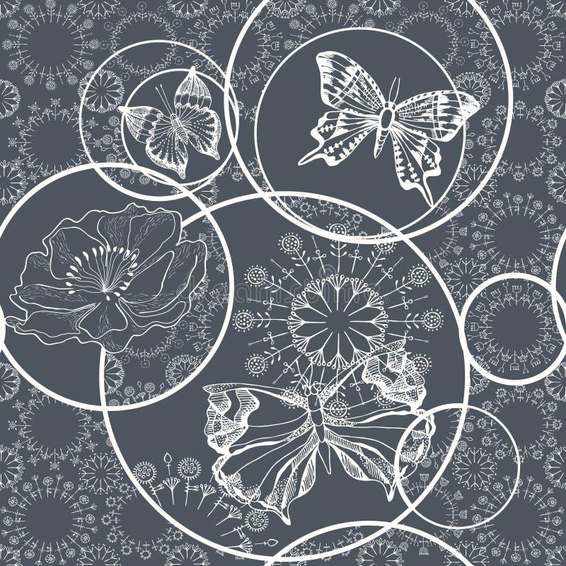 Modelo inconsútil con las mariposas y las flores gráfico blanco y negro Vector stock de ilustración