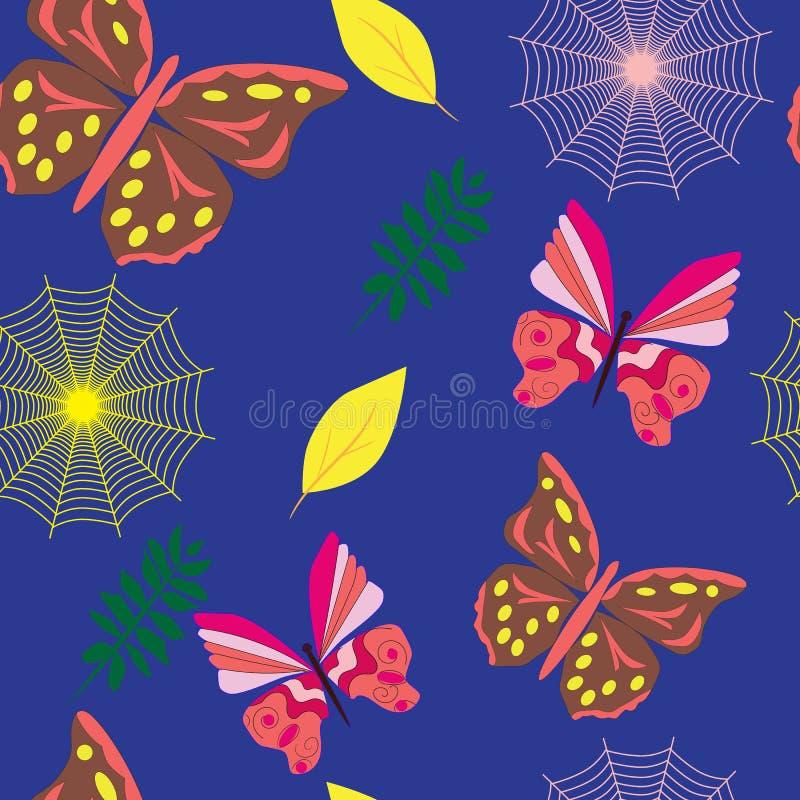 Modelo inconsútil con las mariposas y las web coloridas stock de ilustración