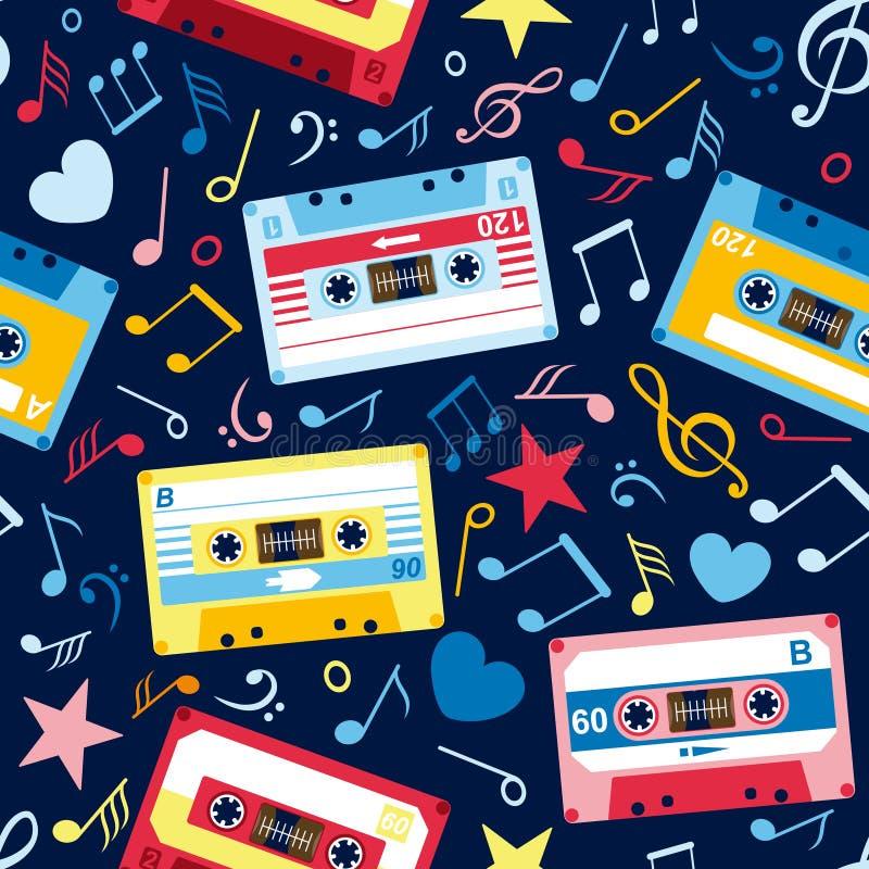 Modelo inconsútil con las notas de la música y el cassette viejo ilustración del vector